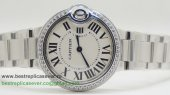 Cartier Ballon bleu de Cartier Quartz Diamonds Bezel Sapphire S/S CRW58