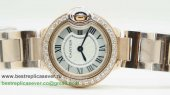 Cartier Ballon bleu de Cartier Quartz Diamonds Bezel Sapphire S/S CRW55